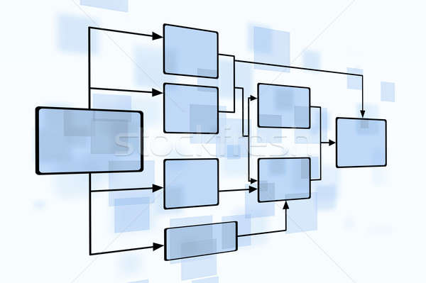 Stock photo: Business Blue Flow Chart