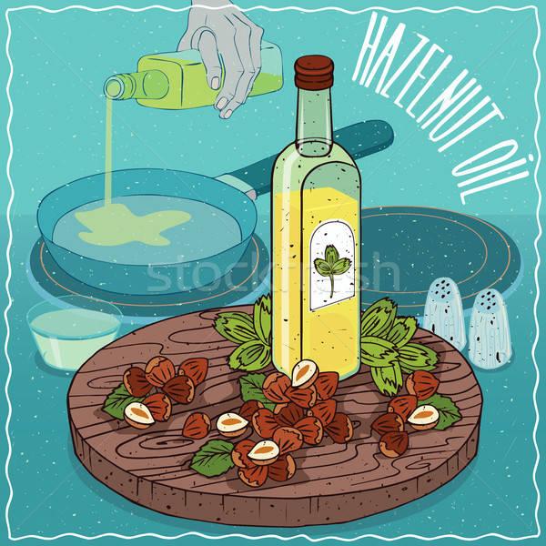 Hazelnut oil used for frying food Stock photo © alexanderandariadna