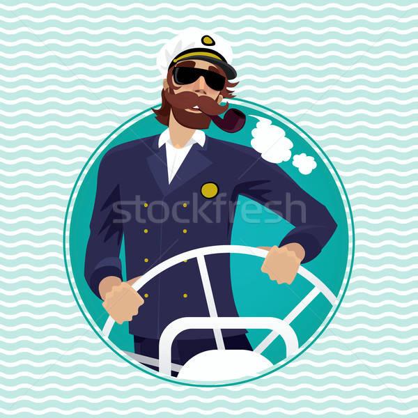 Sea captain in round water frame with ships steering wheel Stock photo © alexanderandariadna