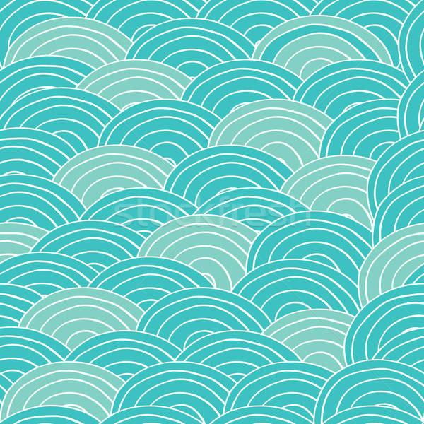 бесшовный ручной работы шаблон cyan морем волны Сток-фото © alexanderandariadna