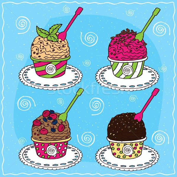 Szett különböző merítőkanál fagylalt vanília menta Stock fotó © alexanderandariadna