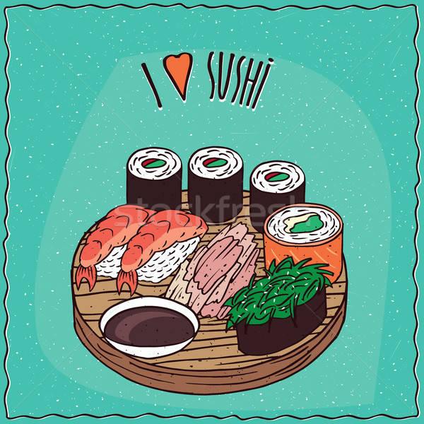 Establecer tres diferente sushi maki Foto stock © alexanderandariadna