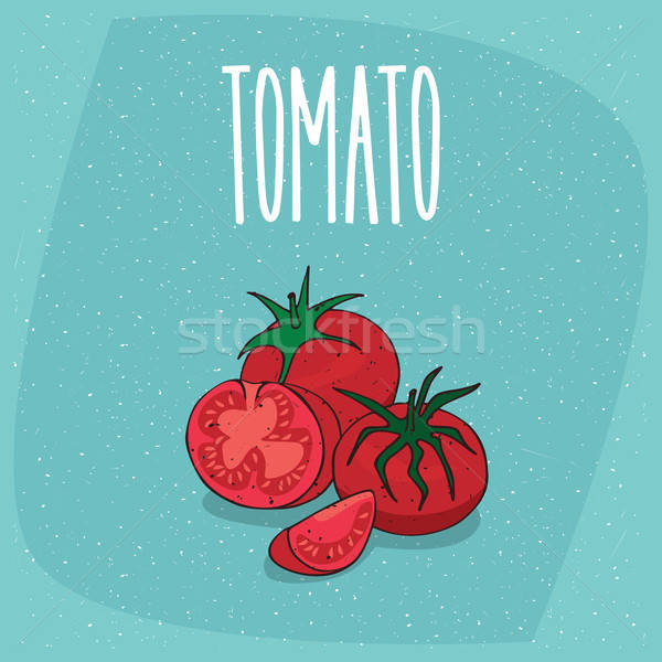 Isolated ripe fruit tomato vegetable whole and cut Stock photo © alexanderandariadna