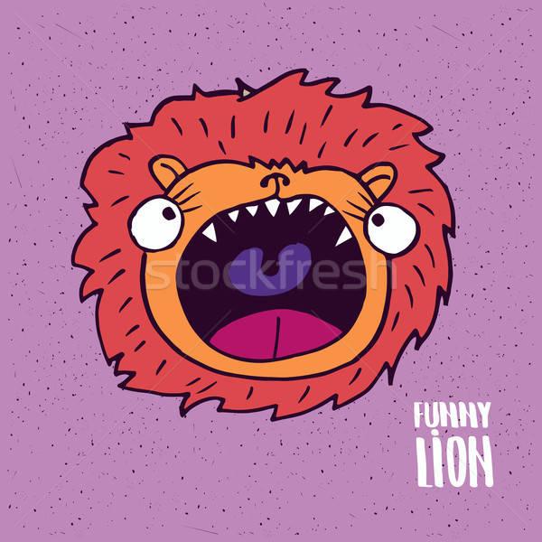 Lion with open mouth in handmade cartoon style Stock photo © alexanderandariadna