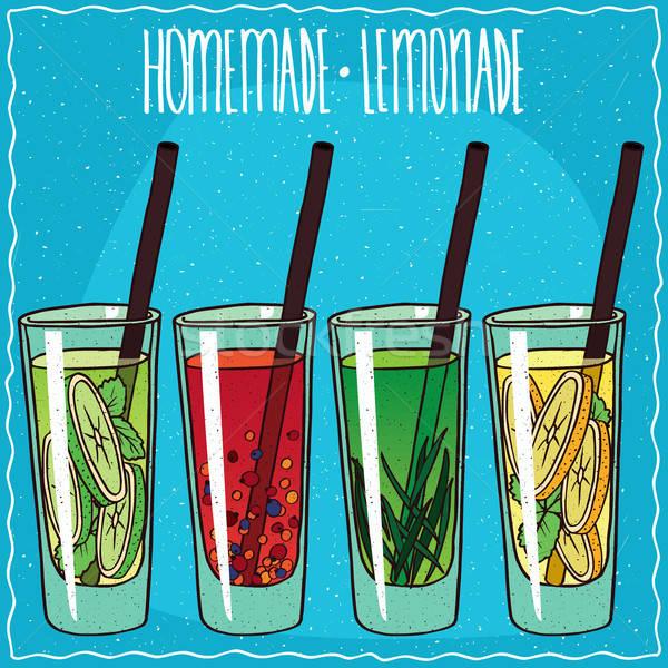 Foto stock: Caseiro · limonada · conjunto · feito · à · mão · desenho · animado · estilo