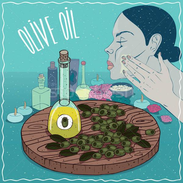 Aceite de oliva utilizado cuidado de la piel vidrio frutas planta Foto stock © alexanderandariadna