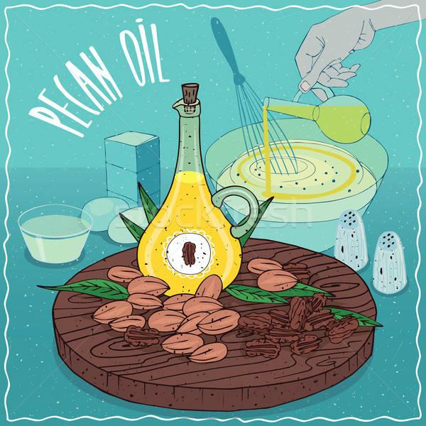 Stockfoto: Olie · gebruikt · koken · glas · noten · hand