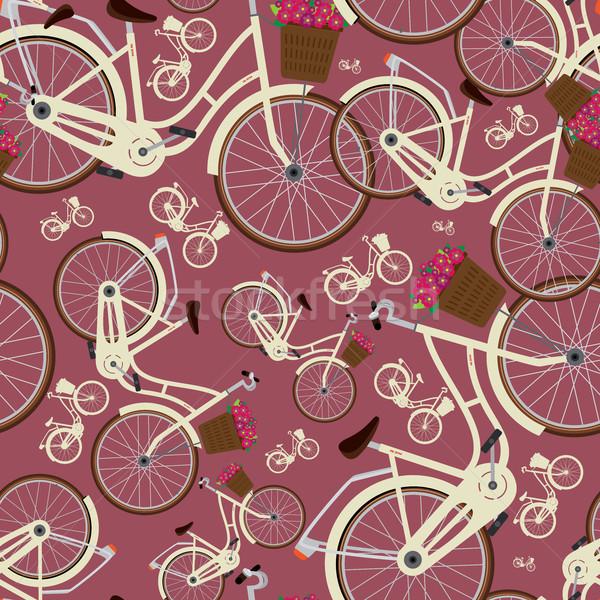 Seamless red pattern with city bicycles Stock photo © alexanderandariadna