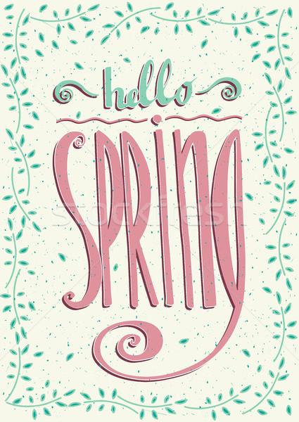 Hola primavera marco hecho a mano texto arte Foto stock © alexanderandariadna