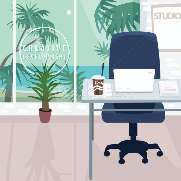 Interior of workplace with ocean view in tropics Stock photo © alexanderandariadna