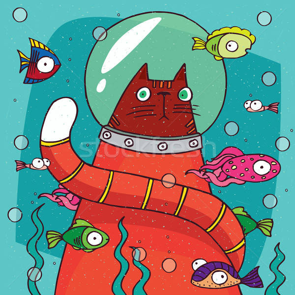 Cat in diving suit on the bottom of aquarium Stock photo © alexanderandariadna