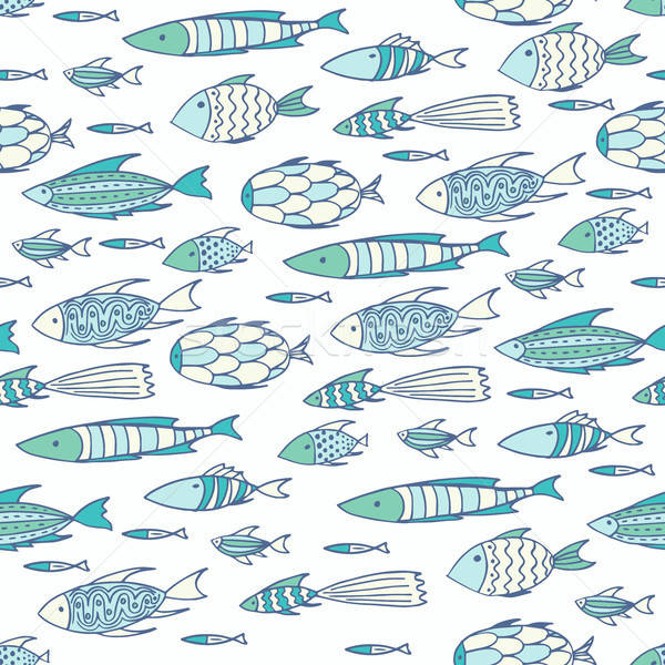 Soft white pattern with shoal of fishes Stock photo © alexanderandariadna