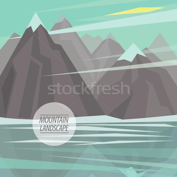 Flat mountain landscape with big lake Stock photo © alexanderandariadna