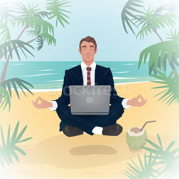 Werknemer lotus pose strand kantoormedewerker laptop Stockfoto © alexanderandariadna