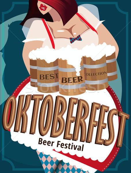 Poster with woman at Oktoberfest Stock photo © alexanderandariadna