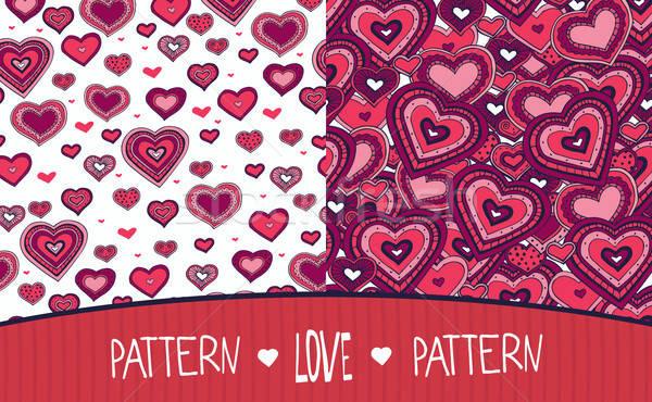 2 愛 パターン 白 赤 セット ストックフォト © alexanderandariadna
