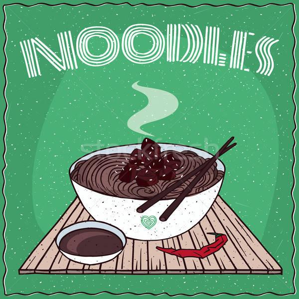Asian noodles Naengmyeon or Soba with beef Stock photo © alexanderandariadna