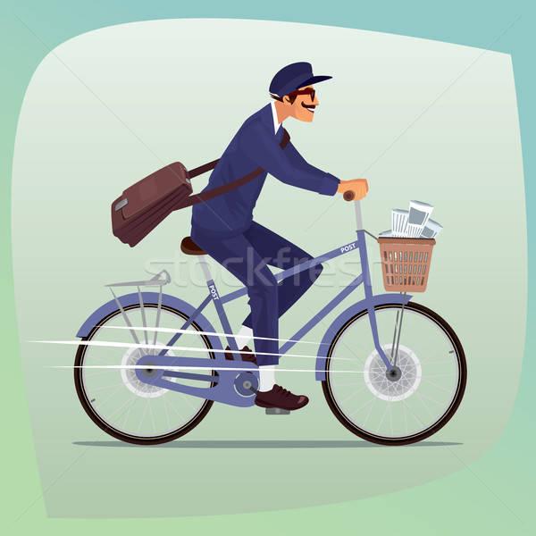 Felnőtt vicces postás bicikli férfi bajusz Stock fotó © alexanderandariadna