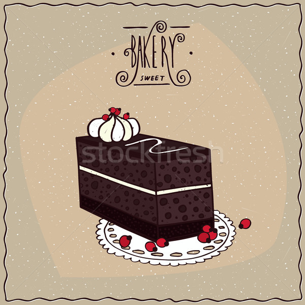 Chocolate coffee cake with biscuit on lacy napkin Stock photo © alexanderandariadna