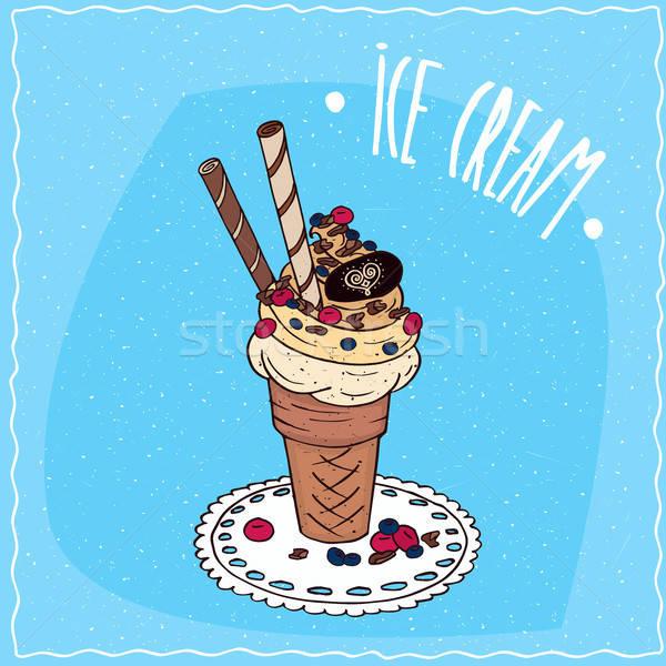 мороженым Sweet Трубы салфетку вафельный Сток-фото © alexanderandariadna