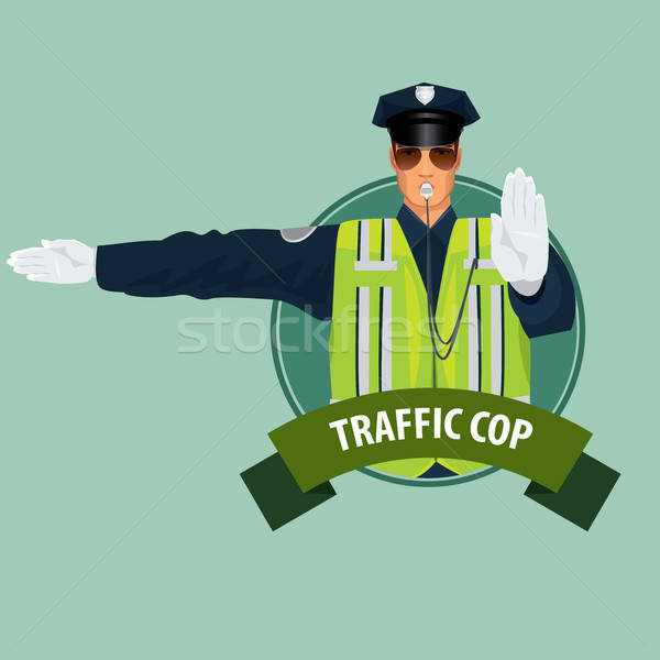 Round icon with officer of traffic police Stock photo © alexanderandariadna