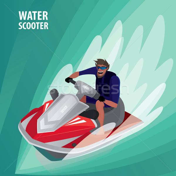 Man on a water scooter Stock photo © alexanderandariadna