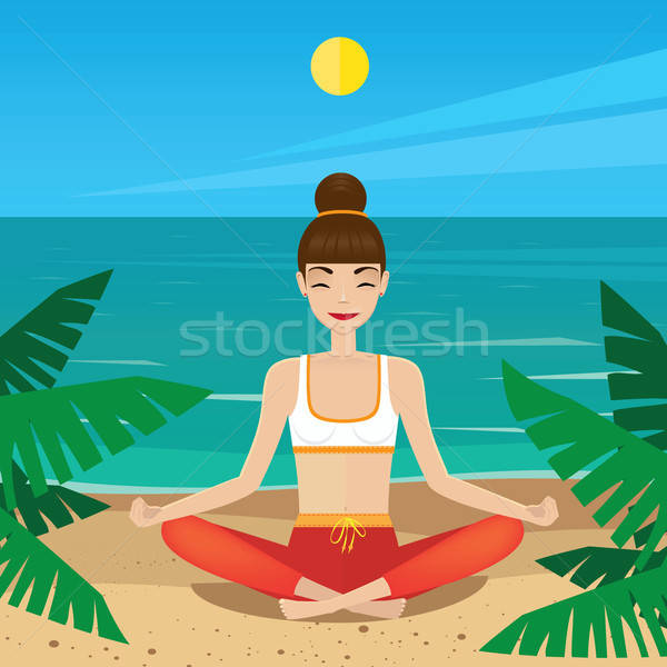 Girl sitting in yoga pose padmasana on the beach Stock photo © alexanderandariadna