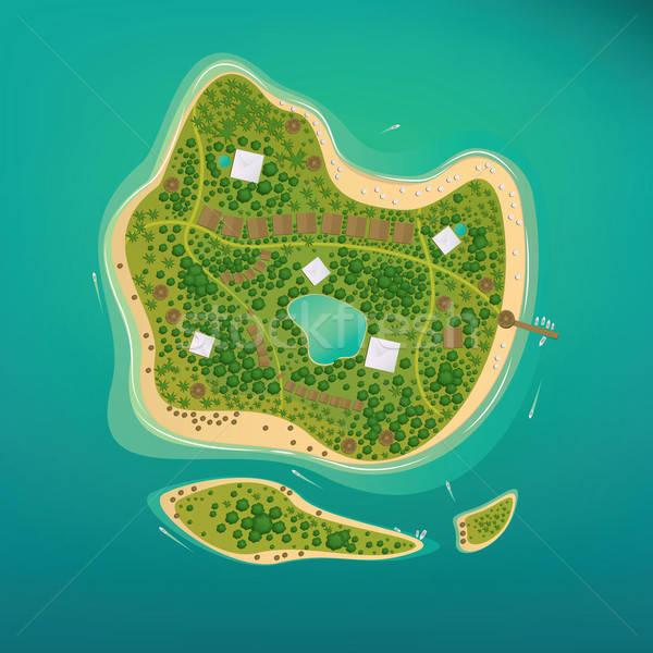 Several tropical islands in the open ocean Stock photo © alexanderandariadna