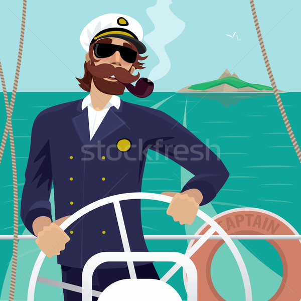 Sea captain on the deck with ships steering wheel Stock photo © alexanderandariadna