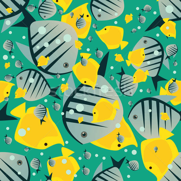 Pattern with cute big fish in green color Stock photo © alexanderandariadna