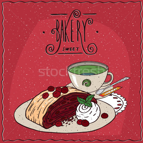 Cerise tasse thé vert vanille crème glacée rouge Photo stock © alexanderandariadna