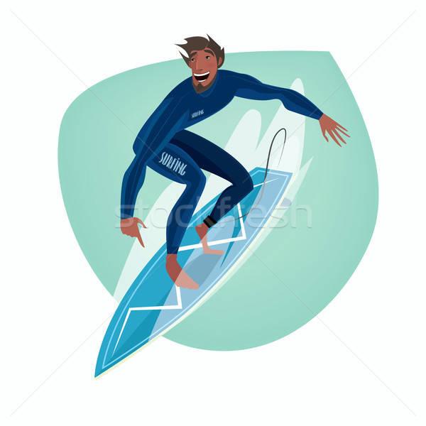 Uomo tavola da surf clipart bianco felice Foto d'archivio © alexanderandariadna