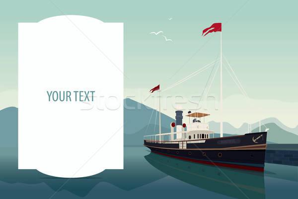 テンプレート 文字 スペース レトロな 船 ストックフォト © alexanderandariadna