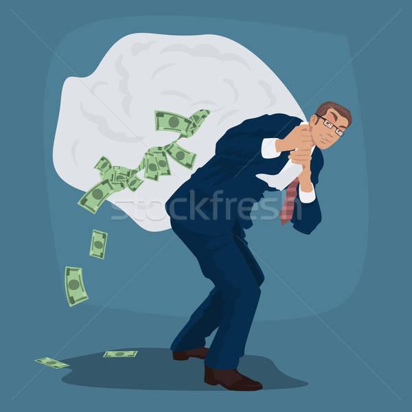 Sluw zakenman reusachtig zak vol cash Stockfoto © alexanderandariadna