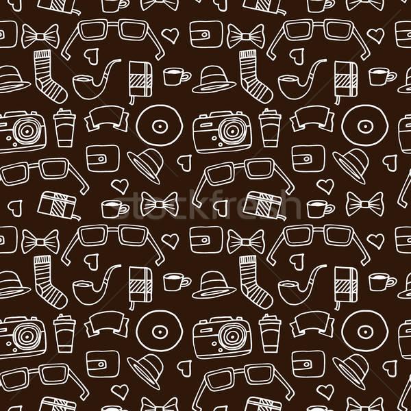 Seamless Hipster pattern in brown color Stock photo © alexanderandariadna