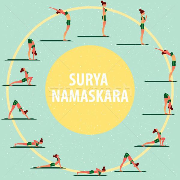 Stockfoto: Ingesteld · sport · meisjes · verschillend · yoga