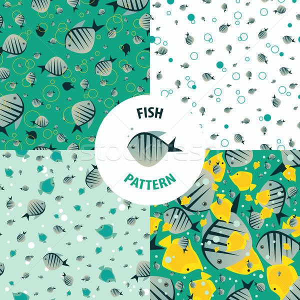 Vector set fish pattern Stock photo © alexanderandariadna