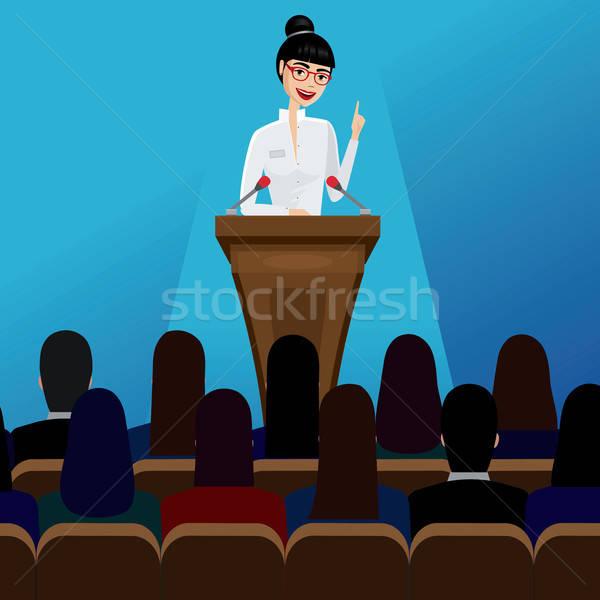 Iş kadını konuşmacı konferans gülen kadın kız Stok fotoğraf © alexanderandariadna