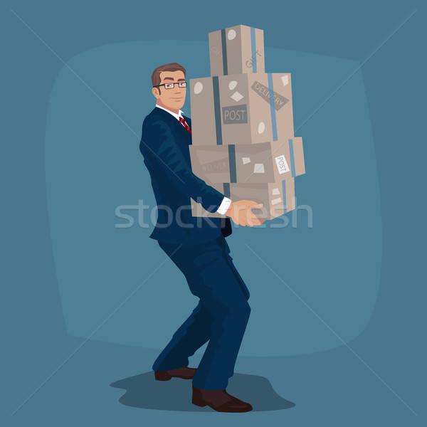 Işadamı müdür posta genç karton kutuları Stok fotoğraf © alexanderandariadna