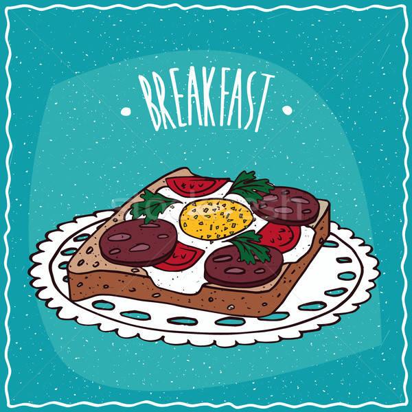 トースト 卵 ソーセージ カラフル トマト ストックフォト © alexanderandariadna