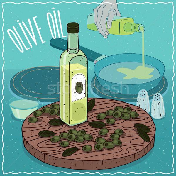 оливкового масла используемый продовольствие стекла бутылку плодов Сток-фото © alexanderandariadna
