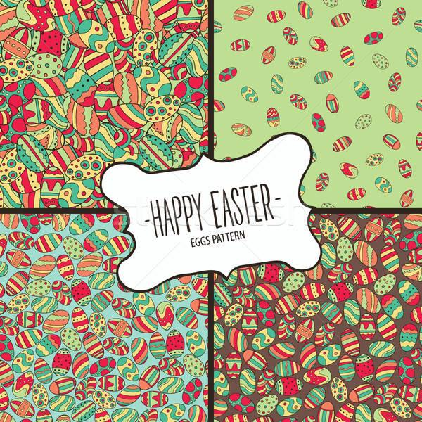 Minták színes húsvéti tojások szett ünnepi kellemes húsvétot Stock fotó © alexanderandariadna