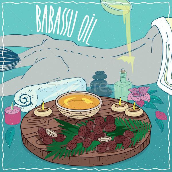 Babassu oil used for body massage Stock photo © alexanderandariadna