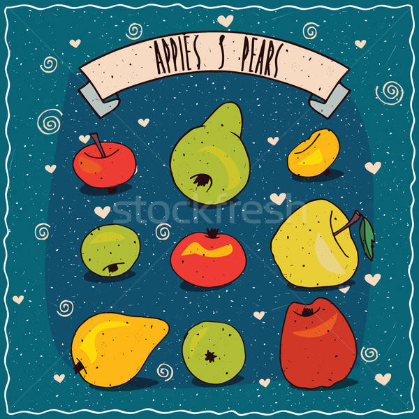 Set of fruits clip art such as apples and pears Stock photo © alexanderandariadna