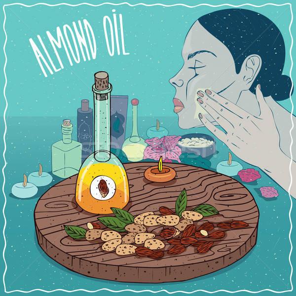 Mandula olaj használt bőrápolás üveg édes Stock fotó © alexanderandariadna