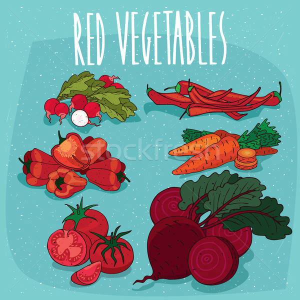 Stock photo: Set of isolated clipart red organic food products