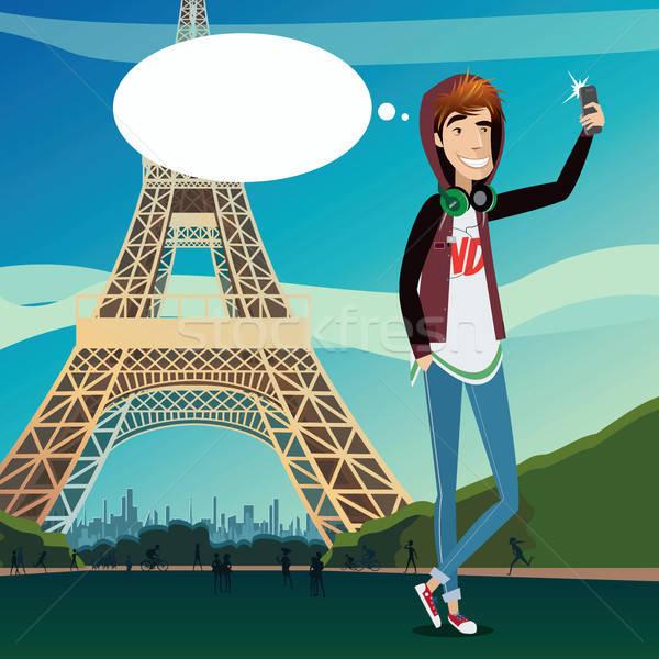 Eiffel-torony tinédzser háttér híres modern építészet férfi Stock fotó © alexanderandariadna