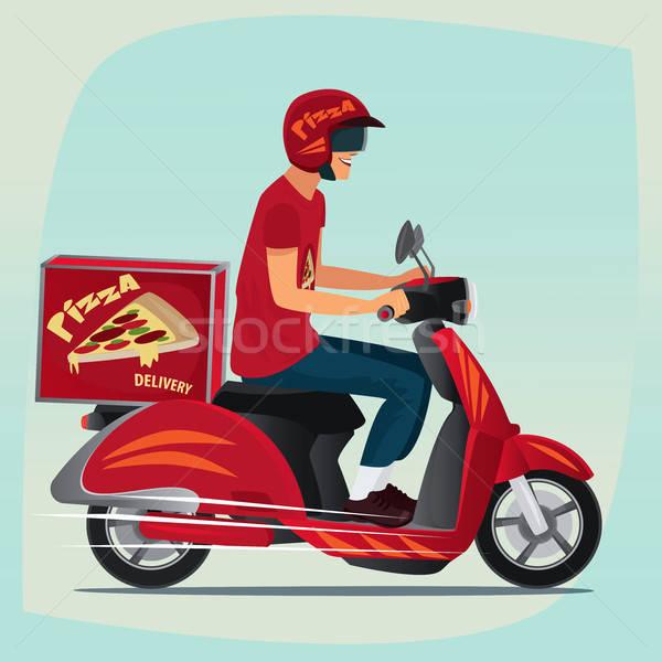 Young pizza courier riding on scooter Stock photo © alexanderandariadna