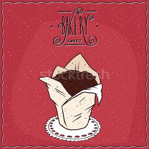 Csokoládé muffin fehér papír csésze gyönyörű Stock fotó © alexanderandariadna