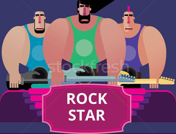 Сток-фото: Rock · band · играет · цвета · музыку · гитаре · рок